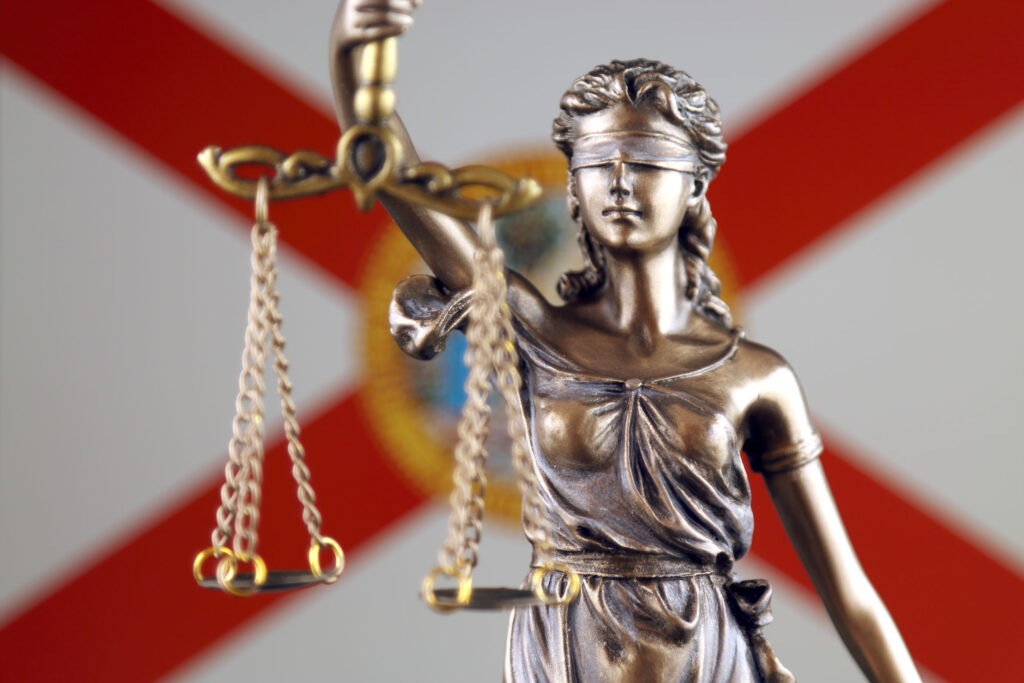 Stock Photo Florida Flag Blind Justice