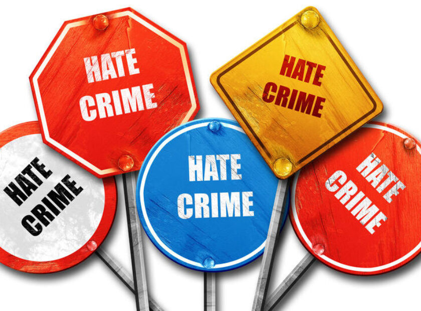 Hate crime background, 3D rendering, rough street sign collectio